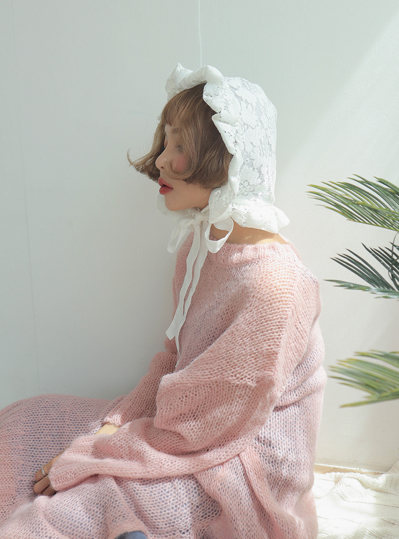 Lace frill line single hood cap